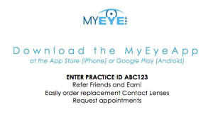 myeeyeapp promotional practice biz card